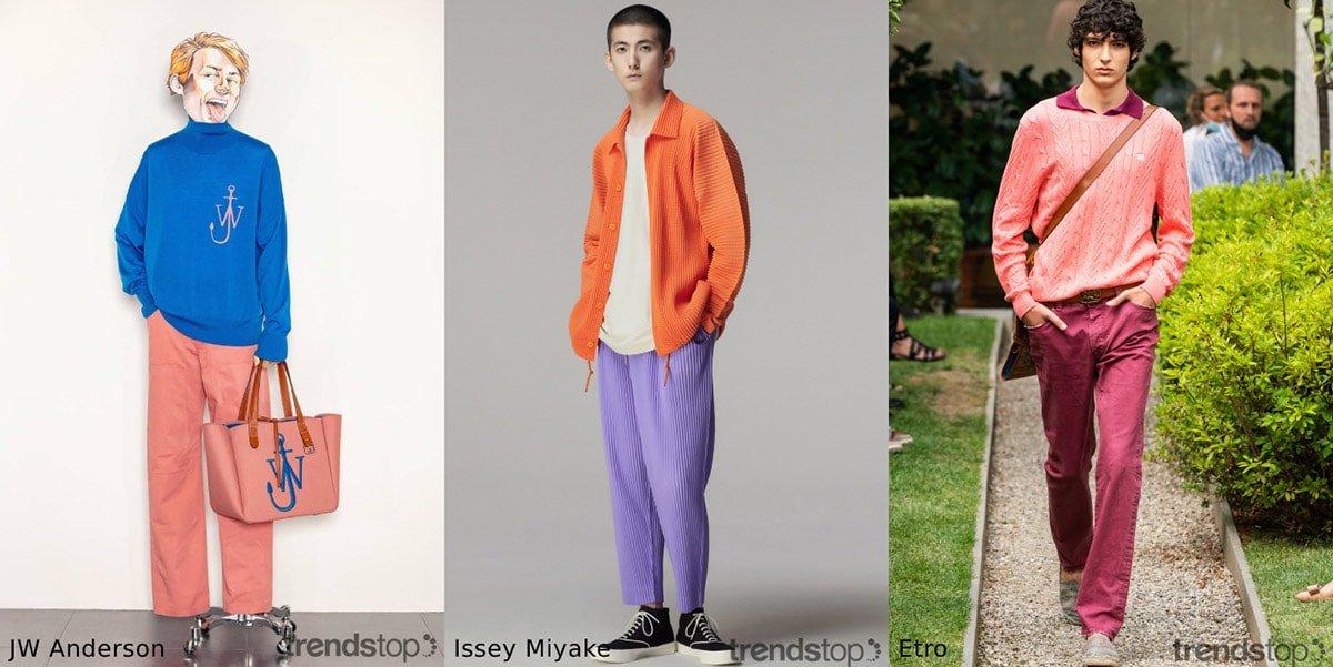 Les tendances couleur de la mode masculine au printemps/été 2021