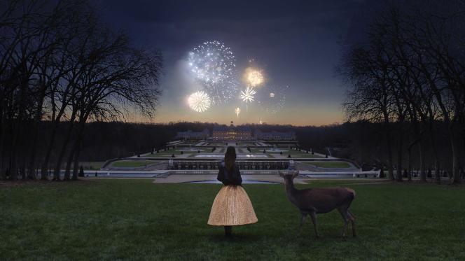 A la fin de la vidéo du défilé Celine, au château de Vaux-le-Vicomte.