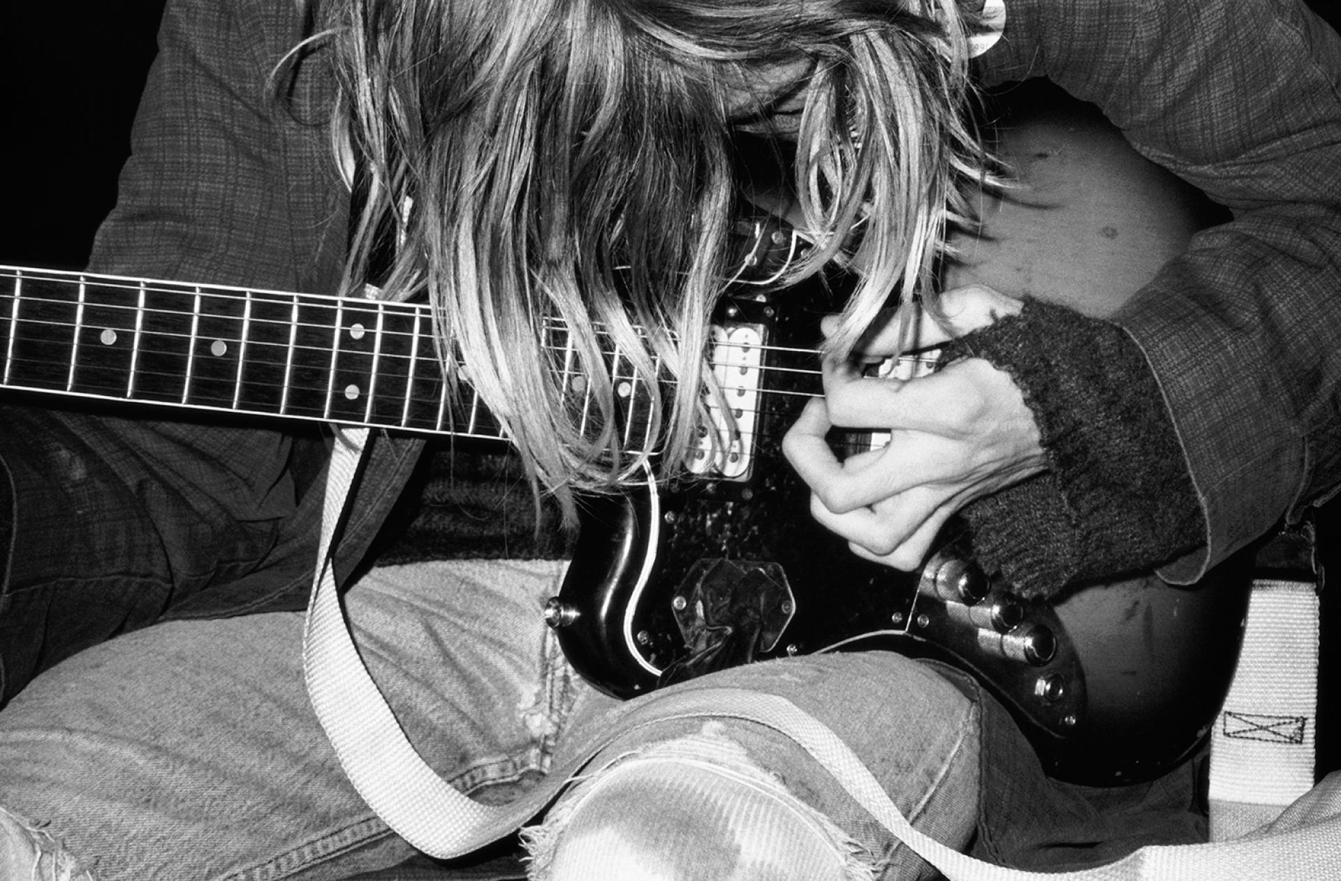 Le leader du groupe Nirvana, Kurt Cobain, en1991.